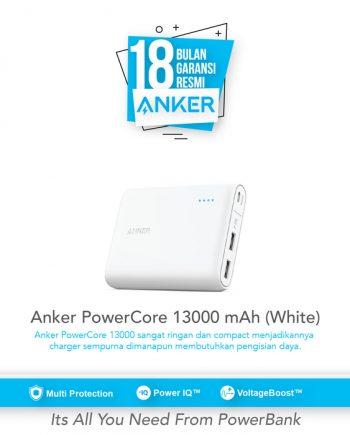 SKU : A1215H21 Anker Powercore 13000 Portabel dengan Teknologi PowerIQ dan VoltageBoost untuk iPhone, iPad, Samsung Galaxy dll.