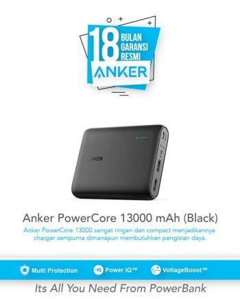 SKU : A1215h11 Anker Powercore 13000 Portabel dengan Teknologi PowerIQ dan VoltageBoost untuk iPhone, iPad, Samsung Galaxy dll.