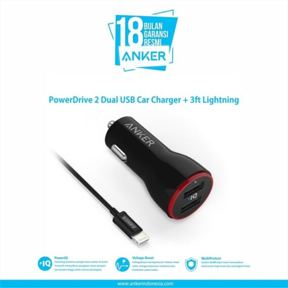 Anker PowerDrive 2 Dual USB Car Charger + 3ft Lightning [B2310011]