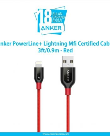 Anker PowerLine+ Lightning Mfi Certified 3ft/0.9m - Red [A8121H91] - Merah