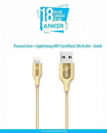 Anker PowerLine+ Lightning Mfi Certified 3ft/0.9m - Gold [A8121HB1]