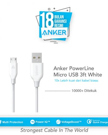 Anker PowerLine Micro USB Cable 6ft/1.8m - White [A8133H21]