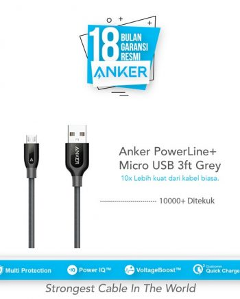 Anker PowerLine+ Micro USB Cable 3ft/0.9m - Gray [A8142HA1]