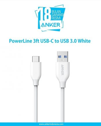 Anker PowerLine 3ft USB-C to USB 3.0 White A8163H21
