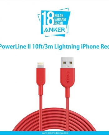 Anker Kabel PowerLine II 10ft/3m Lightning iPhone Merah - A8434